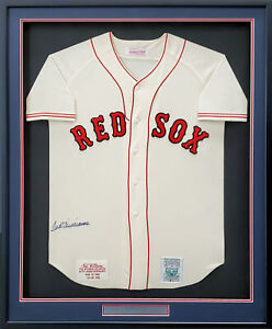 Red Sox Ted Williams Auto Framed White Mitchell & Ness Jersey JSA #BB34099
