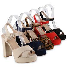 Damen Plateau Sandaletten Blockabsatz Party High Heels 826159 Schuhe