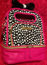 Betsey Johnson Be Mine Pink  Quilted Spots Lunch  Box Insulated Tote Black NEW
