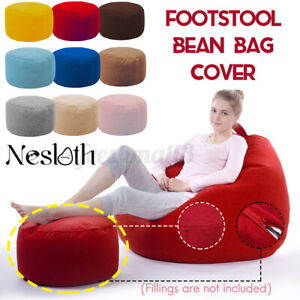 Velvet BeanBag Footstool Cover Footrest Round Stool Bean Bags Sofa Lounger Cover
