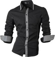 jeansian Men's Slim Fit Fashion Casual Dress Shirts Hombre Camisa Clothing 8015a
