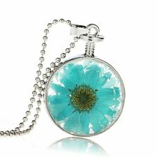 Memory Transparent Glass Real Dried Flower Sweater Chain Necklace Pendant