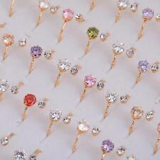 Wholesale Jewelry Lots 10pcs Women Colorful Crystal Gold plated Rings Adjustable