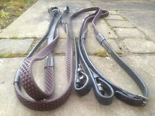 """HERITAGE 100% English made Full Size Brown 54"""" FLEXI BIO Super GRIP RUBBER REINS"""