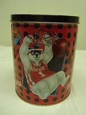 Coca-Cola ROUND Basketball Bear Collector Tin*COKE*Coca Cola*CocaCola*FREE SHIP*