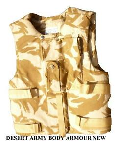 BRITISH ARMY DESERT BODY ARMOUR STAB PROOF CAN BE BULLET PROOF UNISSUED 190/120