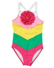 NWT Gymboree Colorblocked Chevron 3D Flower One-Piece Swimsuit Swimwear NEW 8 10
