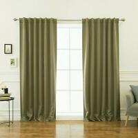 """Best Home Fashion Thermal Insulated Blackout Curtains Olive 52""""W x 108""""L 2 Panel"""