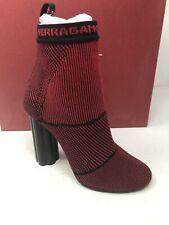 $800 New Salvatore Ferragamo Womens Red Shoes Flower Heels Ladies Size 5.5 C 36