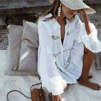 Femmes coton creux chemise de plage robe blanche mini robe de style bohème ITRFR