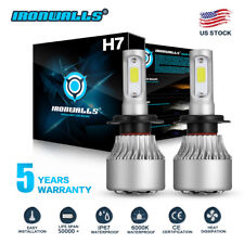 Pair H7 LED Headlight Bulb Conversion Kit High Low Beam Fog Lamp 6000K White HID
