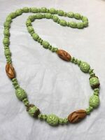 1920s Neiger Necklace Pale Green Pressed Glass Egyptian Revival Antique Czech