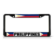 PHILIPPINES FILIPINAS FLAG  Black Heavy Duty Metal License Plate Frame