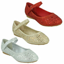 Zapatos De Fiesta H2R612 niñas Spot on Diamante Brillantes Gancho y Bucle Correa Brillante