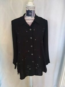 St Michael M&S Top size 12  Shirt  Blouse  Long Sleeve Collared Black