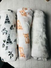 Lot 3 Aden + Anais Little Unicorn Muslin Cotton Swaddle Blankets Elephant Tiger