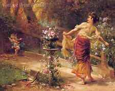 Skittles by Hans Zatzka - Fantasy Girl Playing Game with Cupid  8x10 Print 1254