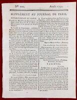 Journées du 20 Juin 1792 Pétion Maire de Paris André Chénier Carra Révolution