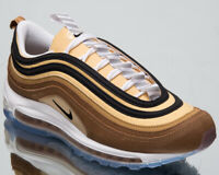 """Nike Air Max 97 """"Barcode"""" Men's New Ale Brown Gold Lifestyle Sneakers 921826-201"""
