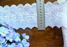 Cambric Lawn Cotton Eyelet Lace WHITE 7-8cm wide 4.5 Metre Length 6590