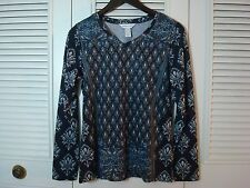Christopher & Banks Top Black Gray Embellished Shirt Size Small  New #62