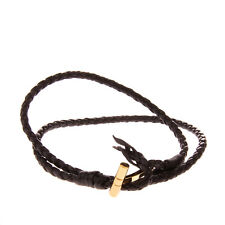 RRP €265 TOM FORD Braided Leather Wrap Bracelet Gold Tone T Buckle Made in Italy