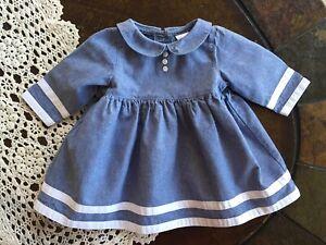 Baby Gap Girls Size 3-6 Months Soft Blue Denim  Long Sleeve White Stripped Dress