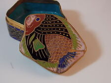 Vintage Chinese Cloisonne Covered Fish Shaped design Trinket Snuff Box