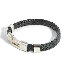 Hot Fashion Men Braided Leather Wristband Magnetic Clasp Bracelet Bangle Jewelry