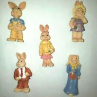 Vintage 1993 THC Resin Garden Bunny Figurine Set of 5 #62050 Hand Painted Easter