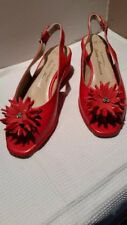 NEW Sesto Meucci  Wedge BOBBY RED NAPPA  Shoes with crystals accents  size 37