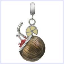 Rhodium Sterling Silver Coconut Cocktail Enamel Bead for European Charm Bracelet