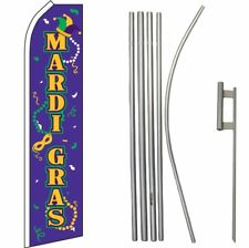 Mardi Gras Purple / Yellow / Green Swooper Flag & 16ft Flagpole Kit/Ground Spike