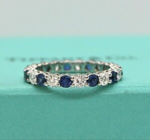 $9900 Tiffany & Co 3mm Embrace Platinum Round Blue Sapphire Diamond Wedding Band