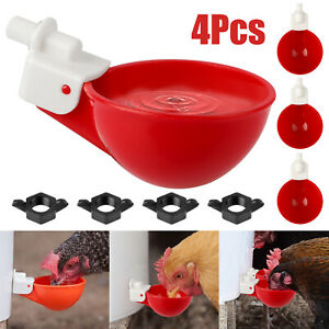 4PCS Automatic Water Cups Poultry Drinker Watering Chicken Duck Quail Drinking