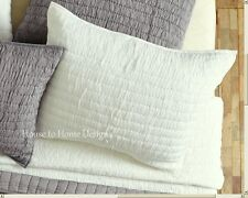CHIC RUCHED EURO SHAM : 100% COTTON IVORY COTTAGE EUROPEAN PILLOW COVER ROCHELLE