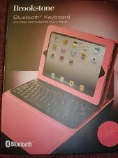 BROOKSTONE BLUETOOTH KEYBOARD WITH TECH-GRIP CASE FOR IPAD 2 TABLET  PINK
