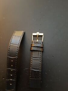 18mm Black leather strap with original Omega Gold Plated Buckle