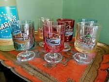 6 VINTAGE COLOURED COCKTAIL GLASSES ~ DECORATED VENICE / VENEZIA ~ HARLEQUIN