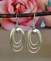 Elongated Circles Sterling Silver Dangle Hook Earrings