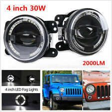 "2PCS 4"" LED Round Fog Light White Angel Eye Halo Lamp 2000LM Projector for Jeep"