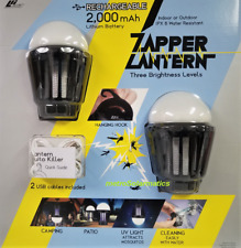 LED Camping Lantern Bug Zapper Mosquito Killer Waterproof Rechargeable 2 PACK