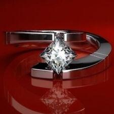 Gothic Women 925 Silver Skull Heart White Topaz Ring Wedding Jewelry Gift Sz8