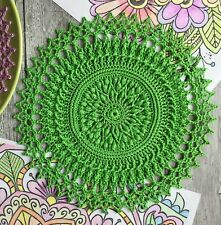 3D Hand crocheted lace green doily cotton handmade