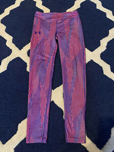Under Armour Pink & Purple Geometric Printed Yoga Pants Youth L
