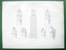 ARCHITECTURE PRINT:  France Examples of Brick Chimneys