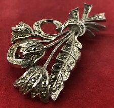 Vintage Fashion Costume Brooch Pin Faux Marcasite Flower