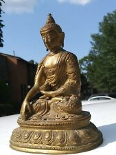 Brass Buddha, Amitabha Buddhism Figurine Sculptural Statue in the Lotus seated