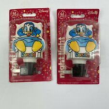 Lot of 2 Vintage 1988 Ge Disney Donald Duck Night Light New Old Stock Original