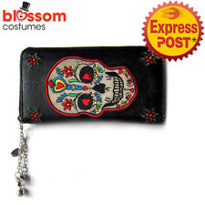 RKN49 Banned Sugar Skull Candy Faux Leather Wallet Purse Rockabilly Gothic Retro